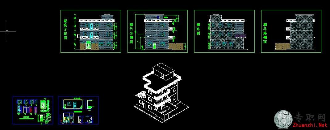 小院 农村房子设计CAD平面图 三层楼 dwg下载