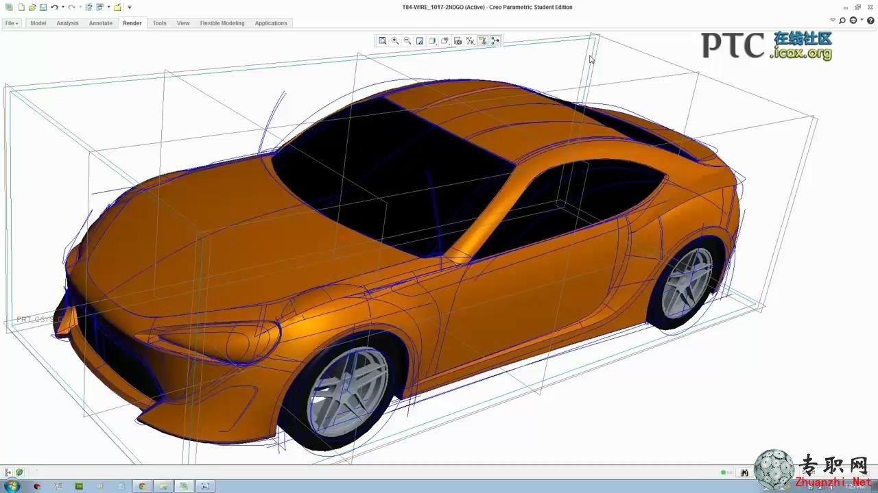 creo汽车3d模型渲染(丰田86)