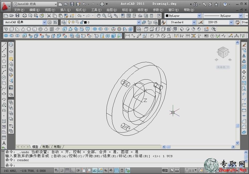 法兰盘的设计(画法全过程)_cad三维制图视频教程下载