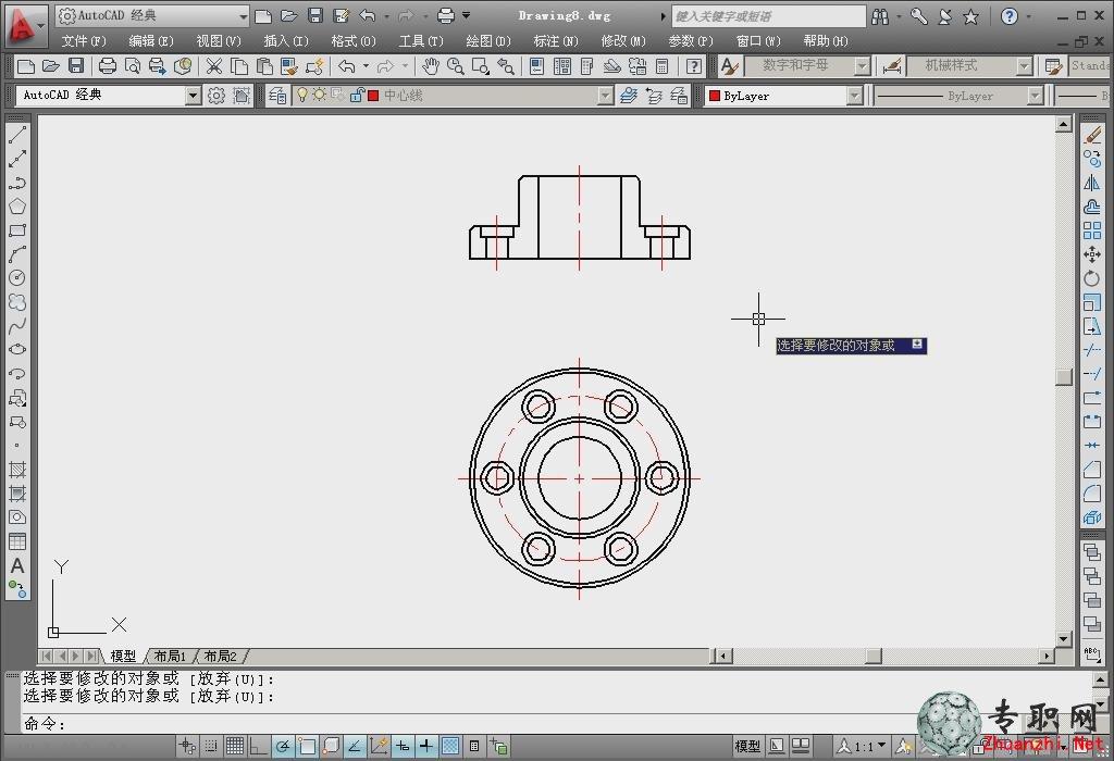 法兰盘的画法及dwg文件 _cad机械制图视频教程下载