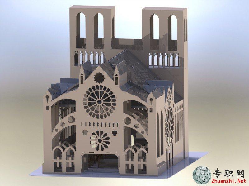 巴黎圣母院大教堂3d结构图模型