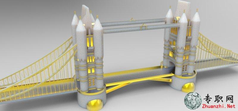 伦敦塔桥3d模型_dwg/dxf/igs/z3/stl/stp源文件图纸