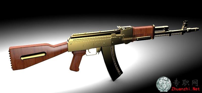 突击步枪ak47三维模型