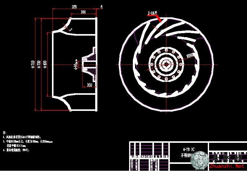 风机叶轮图纸:水泵叶轮拆装图解:水泵叶轮叶片结构图