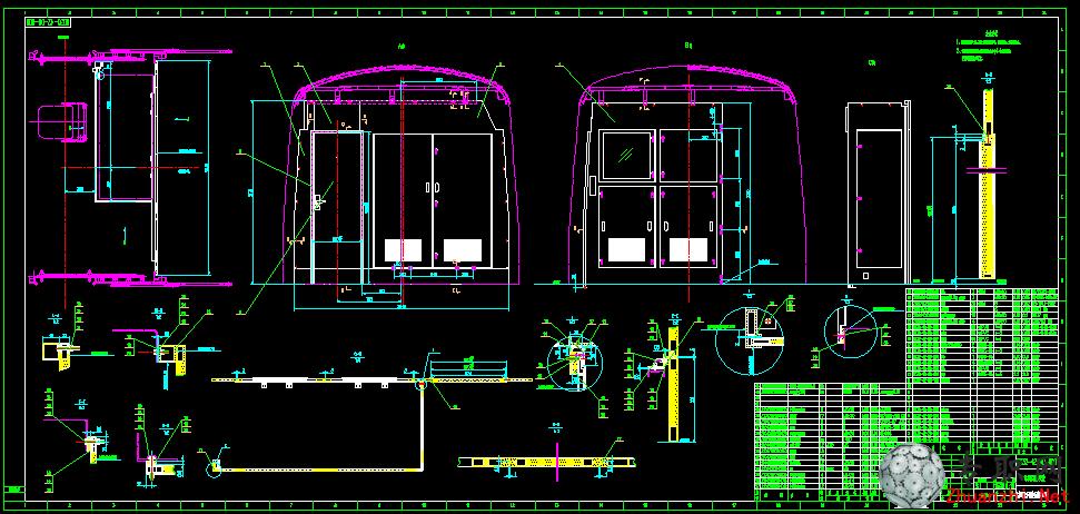 面的图纸 地铁施工图纸 蓝图 CAD图纸下载