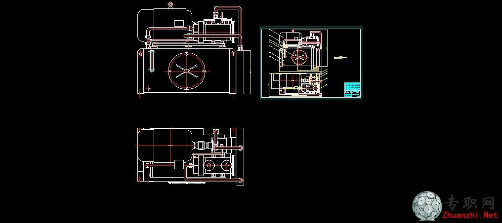 液压压力机液压泵站装配图_cad图纸下载图片