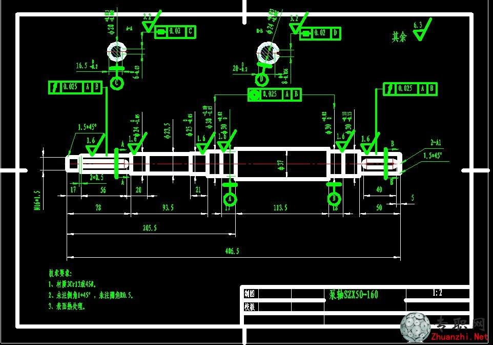水泵(自吸泵)泵轴图纸_cad图纸/二维图纸下载图片