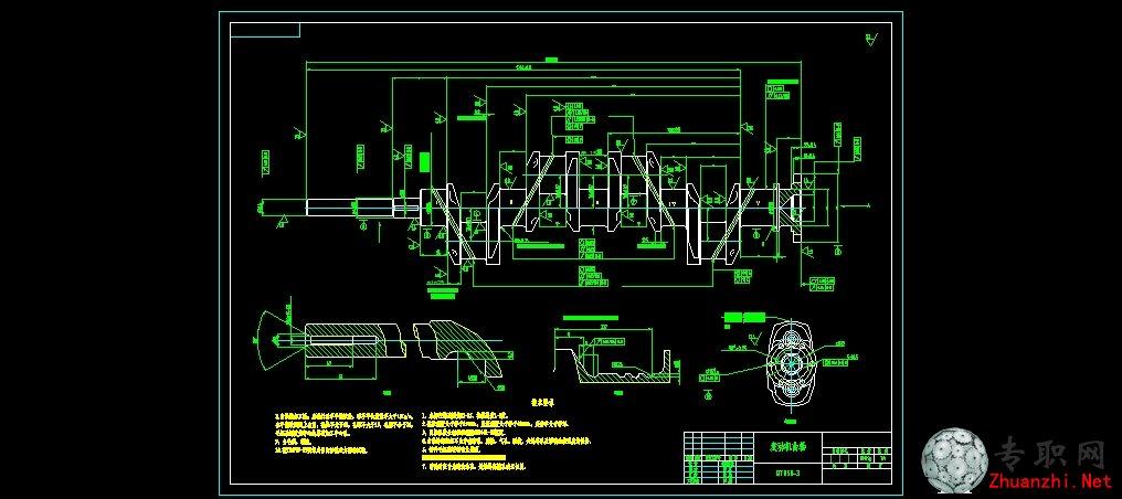 汽车发动机曲轴零件图_cad图纸/二维图纸下载