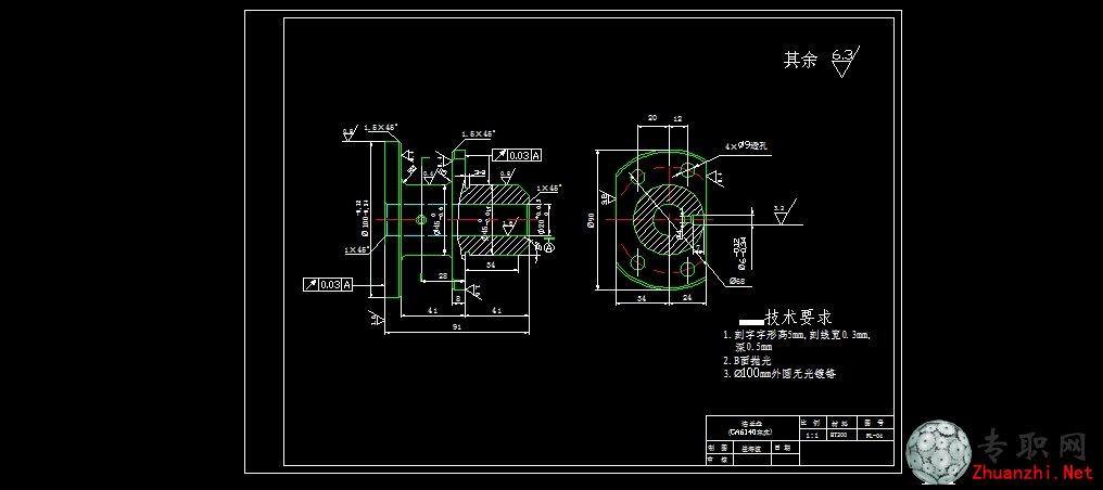 ca6140法兰盘零件图_cad图纸/二维图纸下载