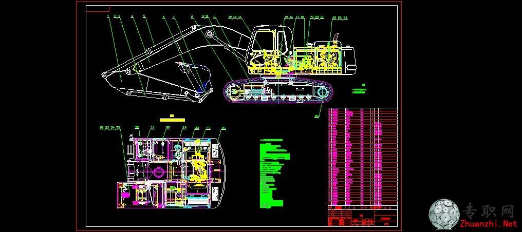 pc310液压挖掘机_cad图纸/二维图纸下载图片