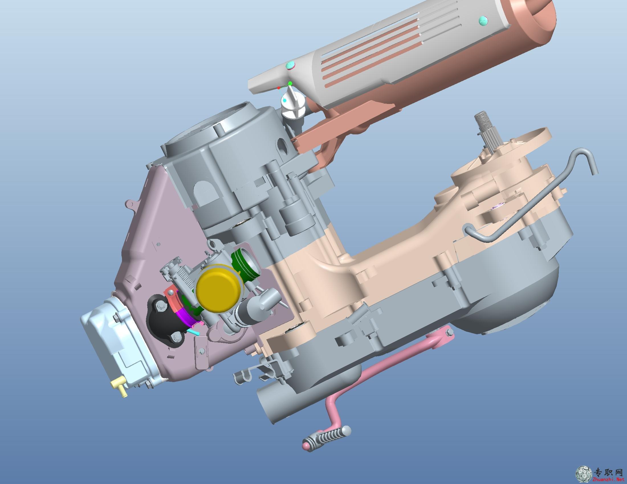 proe五羊公主摩托车发动机3d模型