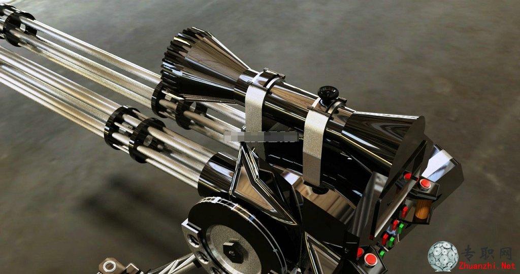 加特林机枪3d模型(手动型多管旋转机关枪)_autocad设计_dwg/stl源文件