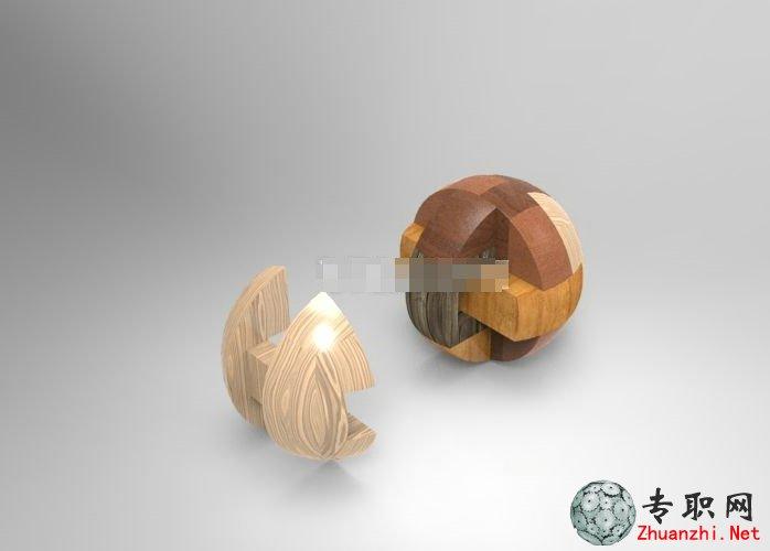 孔明锁)的益智类玩具,是由很多零件组装起来的球形