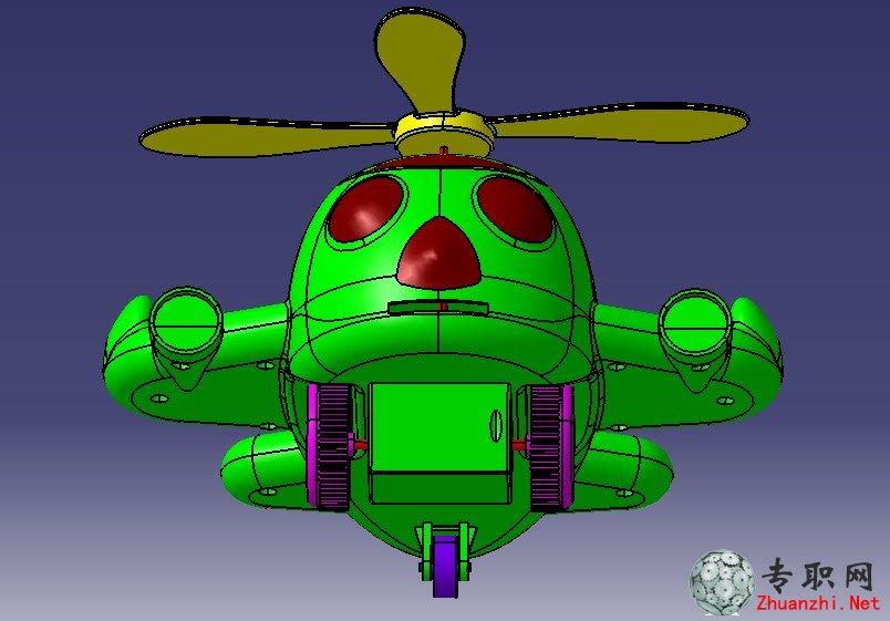 卡通小飞机3d模型_catia设计