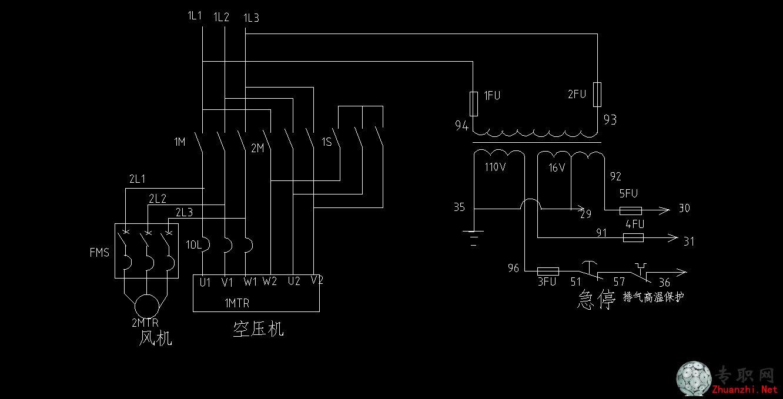 空压机电气控制图_cad图纸/dwg格式二维图纸下载