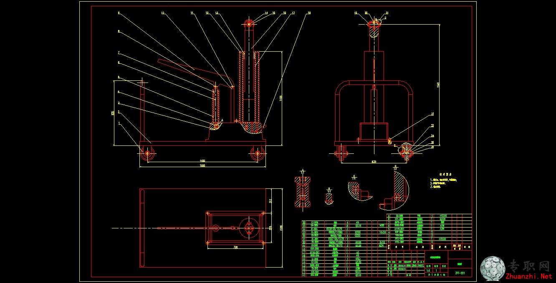 升降机装配图 _cad图纸/dwg格式二维图纸下载图片
