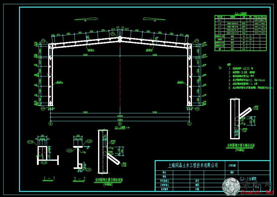 轻钢门架设计图 _cad图纸/二维图纸下载