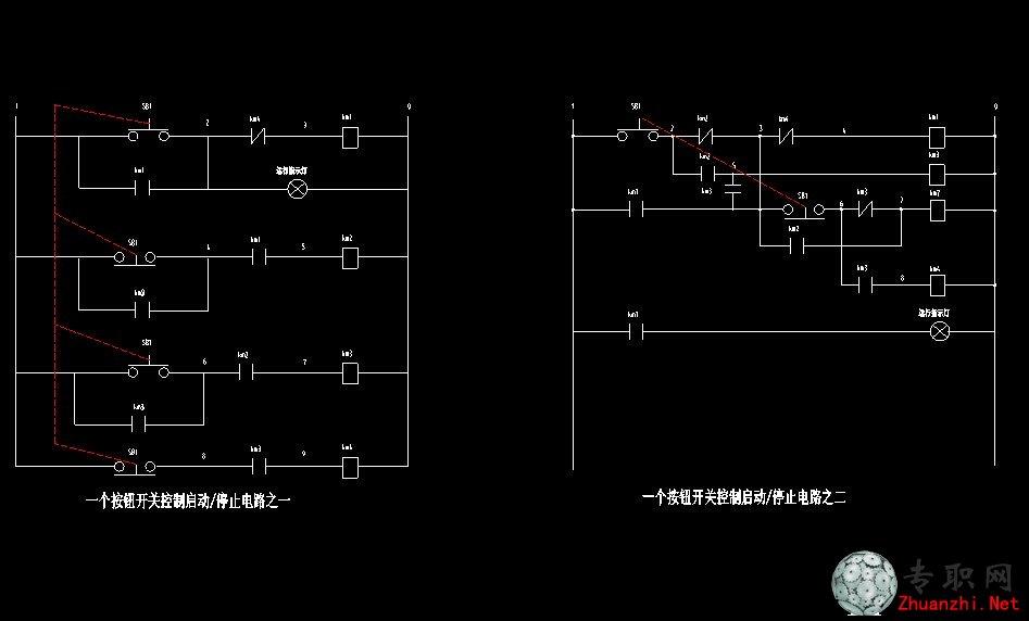 按钮开关控制电路图 _cad图纸/二维图纸下载