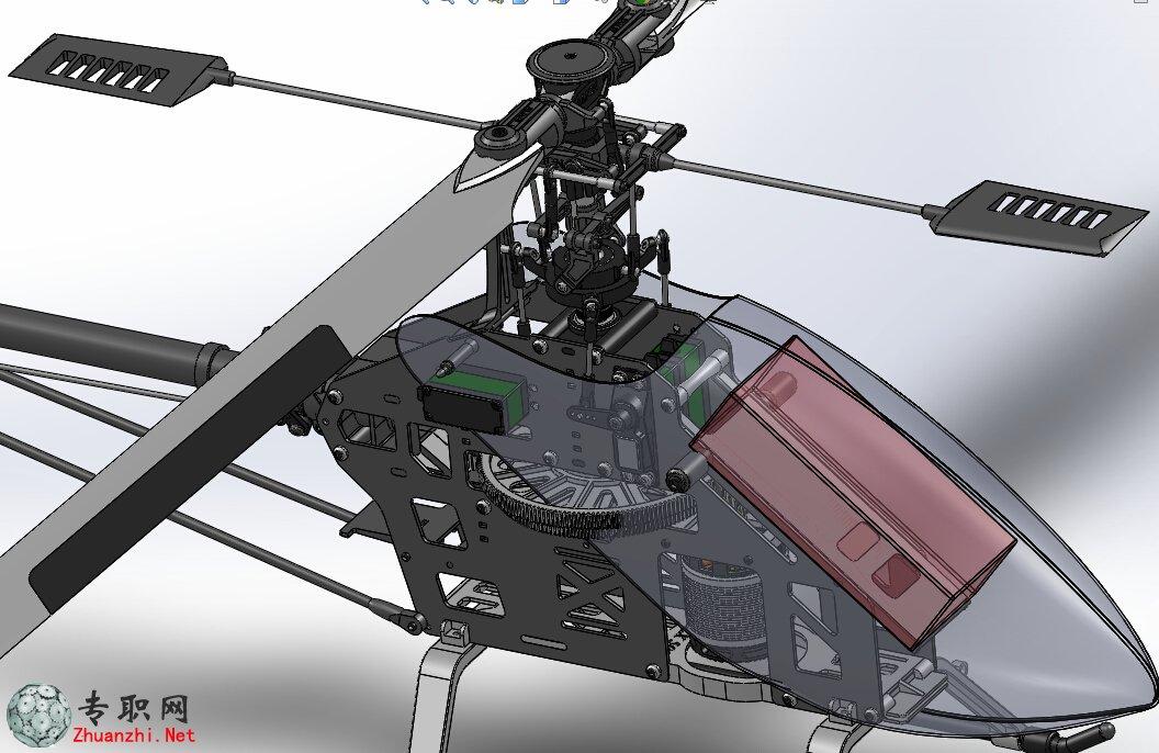 --> 航模直升机3D模型_SolidWorks设计_Sldprt/Sldasm文件下载 这一款航模直升机3D模型,模型采用传统结构,以齿轮传动为主,模型采用solidworks制作,包含内部全部零件,并且可以编辑,欢迎下载