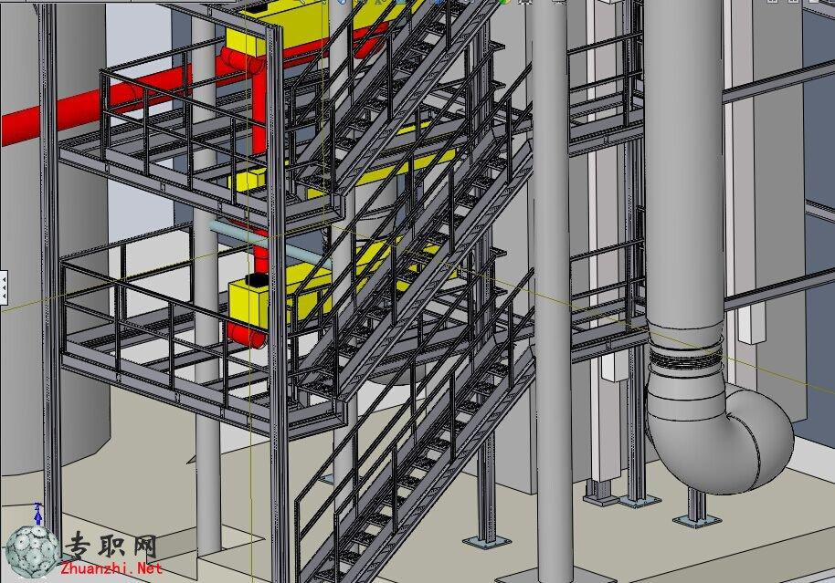 大型锅炉钢结构3D模型 SolidWorks设计 STEP文件下载