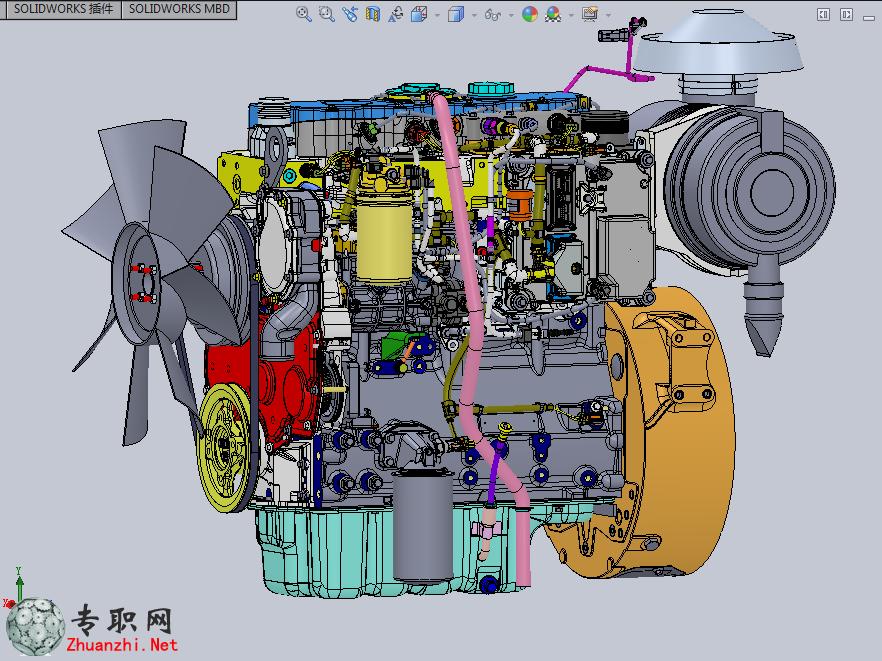 专职网 行业资料 图纸下载 > 英国进口柴油发动机3d模型_solidworks