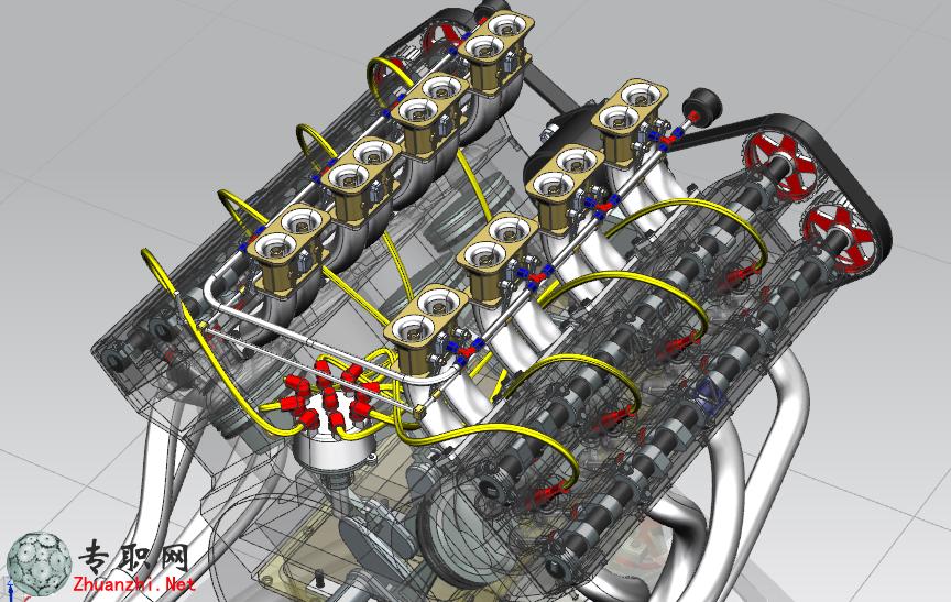 32气门V8发动机3D模型 UG NX设计 Prt文件下载