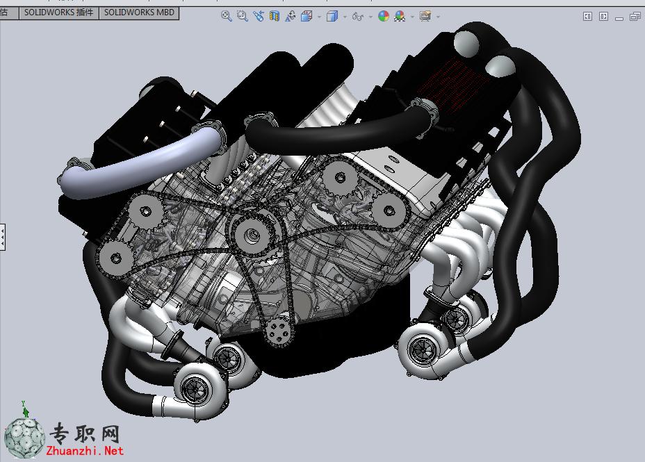 --> 完整内部结构W16直喷发动机3D模型_SolidWorks设计_SLDPRT/SLDASM文件下载   W型16缸直喷发动机,也叫W16发动机,该3D模型包含完整内部结构,有所有的结构,参考价值非常高。根据发动机参数自己设计的,基本上还原了W16的设计理念和结构。W16发动机是独一无二的。SolidWorks 2013文件 有参数可编辑。