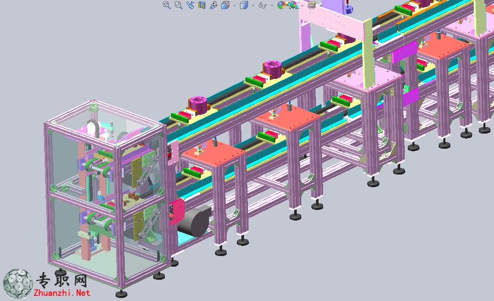 非标自动化工装流水板组装点胶机流水线设备3d模型_sw
