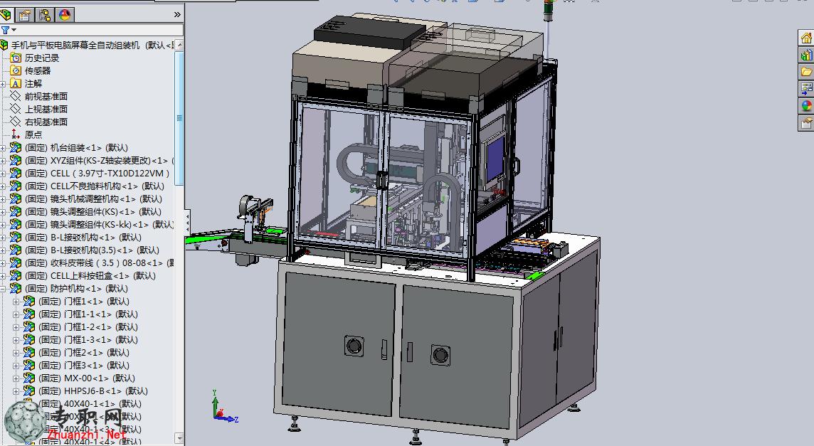 --> 全自动手机/平板电脑屏幕组装机3D模型_SolidWorks设计_SLDPRT/SLDASM/STEP下载   手机屏幕与平板电脑屏幕全自动组装机3D模型,复杂结构,包含三轴抓取定位,真空吸取模组,视觉纠偏模组,旋转加紧模组,以及皮带可调宽度机构,非常适用于电子行业自动化机构。手机屏幕自动组装机设备结构非常庞大复杂,对想从事自动化组装设备或者机械设计的朋友非常有帮助,复杂的内部传输结构,很有学习价值
